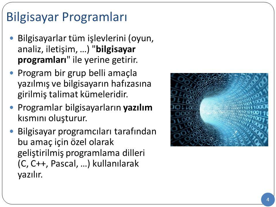 4 Bilgisayar Programları Bilgisayarlar tüm işlevlerini (oyun, analiz, iletişim, …) bilgisayar programları ile yerine getirir.