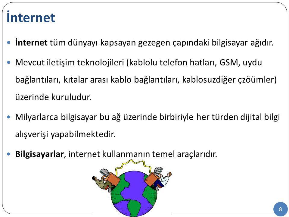 8 İnternet tüm dünyayı kapsayan gezegen çapındaki bilgisayar ağıdır. Mevcut iletişim teknolojileri (kablolu telefon hatları, GSM, uydu bağlantıları, k