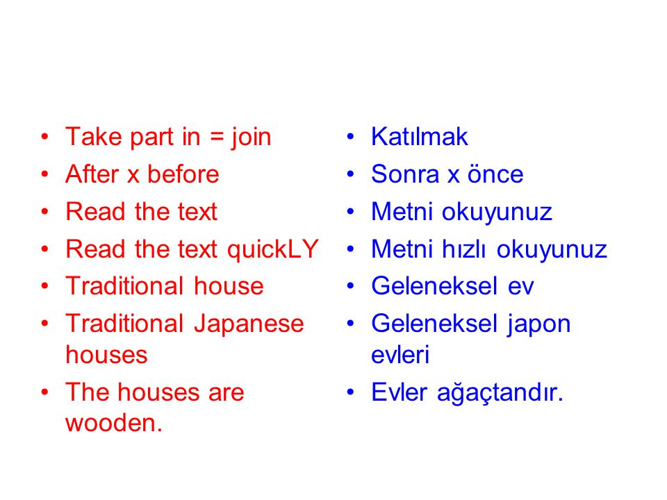 Take part in = join After x before Read the text Read the text quickLY Traditional house Traditional Japanese houses The houses are wooden. Katılmak S