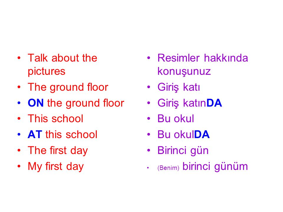 Talk about the pictures The ground floor ON the ground floor This school AT this school The first day My first day Resimler hakkında konuşunuz Giriş k