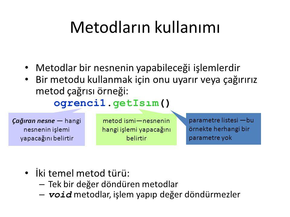 Metodların kullanımı Metodlar bir nesnenin yapabileceği işlemlerdir Bir metodu kullanmak için onu uyarır veya çağırırız metod çağrısı örneği: ogrenci1