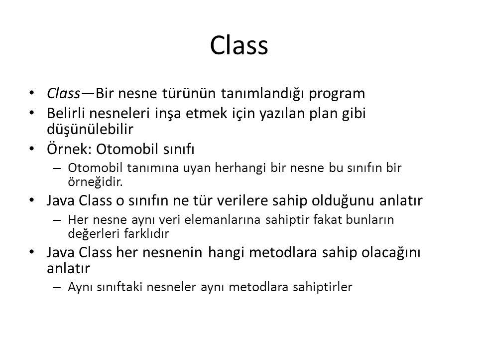 Class Class—Bir nesne türünün tanımlandığı program Belirli nesneleri inşa etmek için yazılan plan gibi düşünülebilir Örnek: Otomobil sınıfı – Otomobil