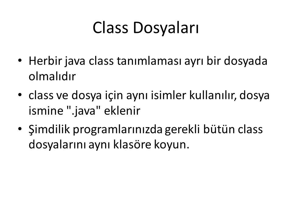 Class Dosyaları Herbir java class tanımlaması ayrı bir dosyada olmalıdır class ve dosya için aynı isimler kullanılır, dosya ismine