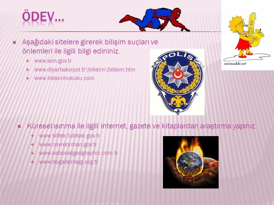  Aşağıdaki sitelere girerek bilişim suçları ve önlemleri ile ilgili bilgi edininiz.  www.iem.gov.tr  www.diyarbakirpol.tr\bilisim\bilisim.htm  www