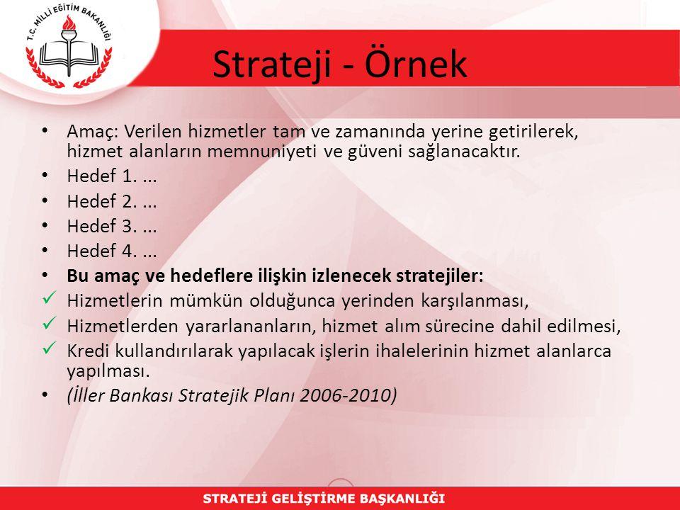 Strateji - Örnek Amaç: Verilen hizmetler tam ve zamanında yerine getirilerek, hizmet alanların memnuniyeti ve güveni sağlanacaktır.