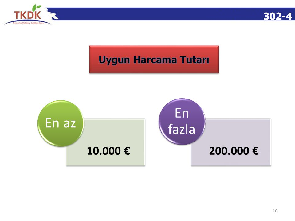 302-4 10 10.000 € En az 200.000 € En fazla