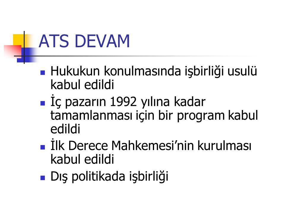 ATS DEVAM Hukukun konulmasında işbirliği usulü kabul edildi İç pazarın 1992 yılına kadar tamamlanması için bir program kabul edildi İlk Derece Mahkeme