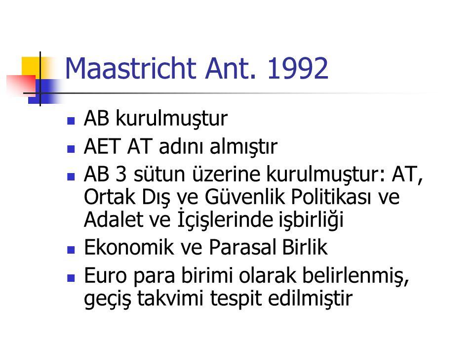 Maastricht Ant. 1992 AB kurulmuştur AET AT adını almıştır AB 3 sütun üzerine kurulmuştur: AT, Ortak Dış ve Güvenlik Politikası ve Adalet ve İçişlerind