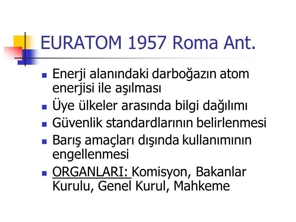 EURATOM 1957 Roma Ant. Enerji alanındaki darboğazın atom enerjisi ile aşılması Üye ülkeler arasında bilgi dağılımı Güvenlik standardlarının belirlenme