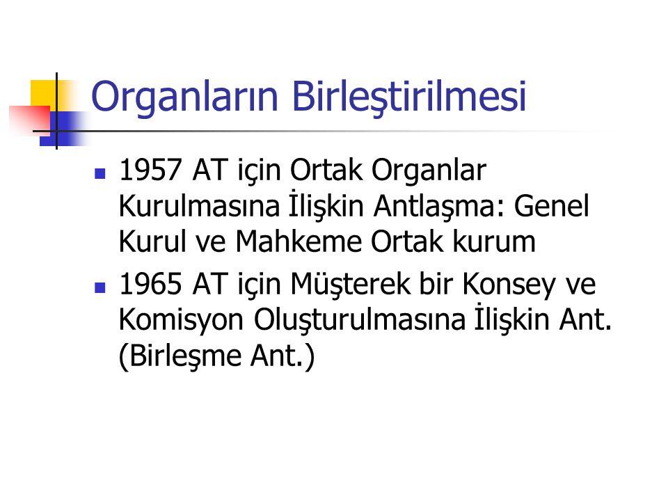Organların Birleştirilmesi 1957 AT için Ortak Organlar Kurulmasına İlişkin Antlaşma: Genel Kurul ve Mahkeme Ortak kurum 1965 AT için Müşterek bir Kons