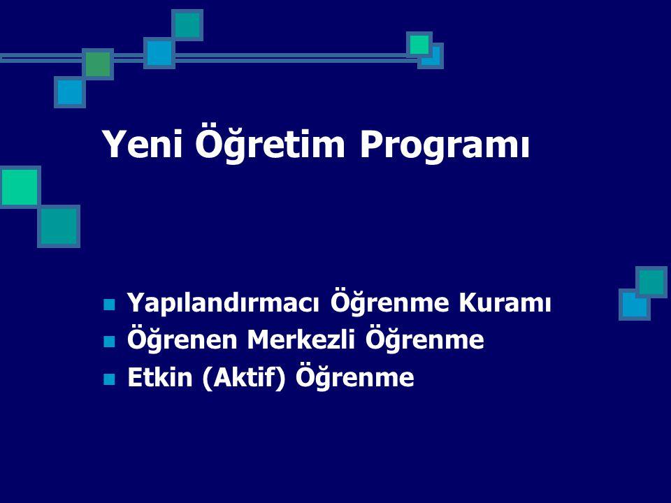 Yeni Öğretim Programı Yapılandırmacı Öğrenme Kuramı Öğrenen Merkezli Öğrenme Etkin (Aktif) Öğrenme