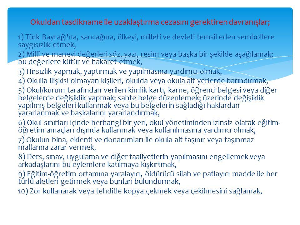1) Türk Bayrağı'na, sancağına, ülkeyi, milleti ve devleti temsil eden sembollere saygısızlık etmek, 2) Millî ve manevi değerleri söz, yazı, resim veya