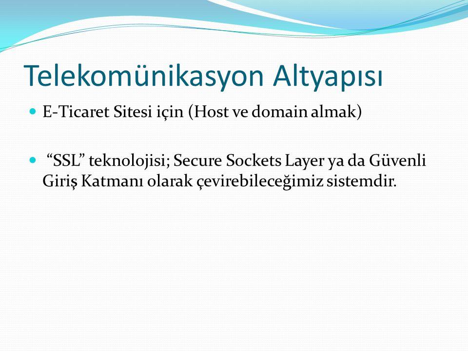 """Telekomünikasyon Altyapısı E-Ticaret Sitesi için (Host ve domain almak) """"SSL"""" teknolojisi; Secure Sockets Layer ya da Güvenli Giriş Katmanı olarak çev"""