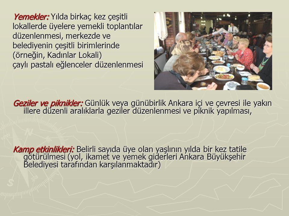 Yemekler: Yılda birkaç kez çeşitli lokallerde üyelere yemekli toplantılar düzenlenmesi, merkezde ve belediyenin çeşitli birimlerinde (örneğin, Kadınla