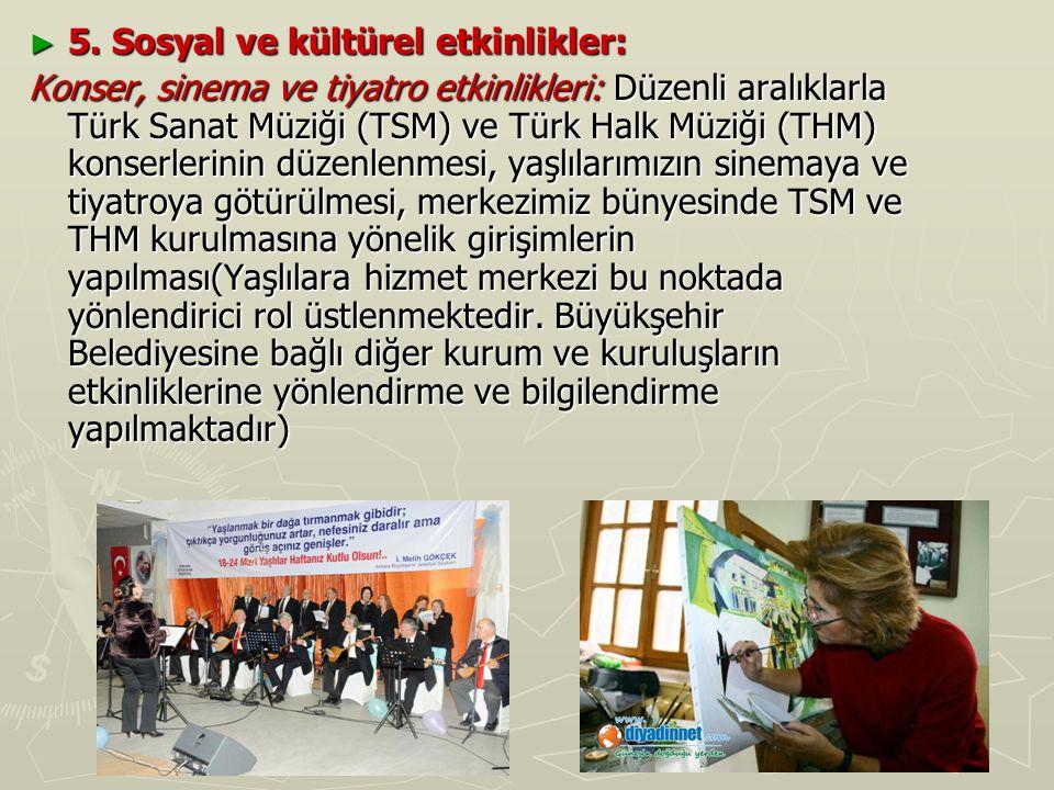 ► 5. Sosyal ve kültürel etkinlikler: Konser, sinema ve tiyatro etkinlikleri: Düzenli aralıklarla Türk Sanat Müziği (TSM) ve Türk Halk Müziği (THM) kon