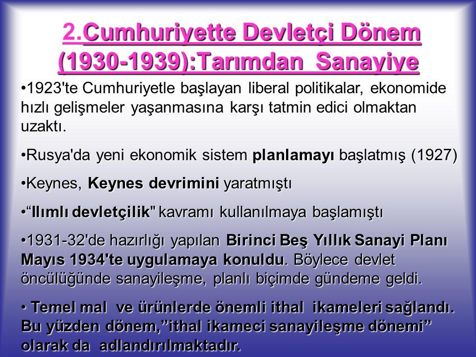 Cumhuriyette Devletçi Dönem (1930-1939):Tarımdan Sanayiye 2.Cumhuriyette Devletçi Dönem (1930-1939):Tarımdan Sanayiye 1923'te Cumhuriyetle başlayan li