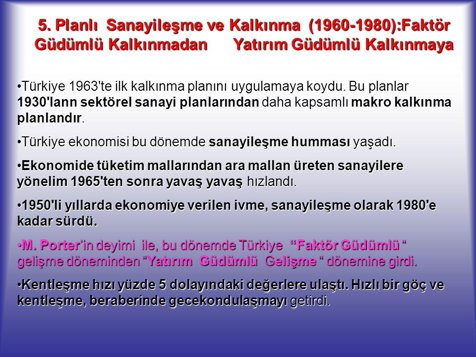5. Planlı Sanayileşme ve Kalkınma (1960-1980):Faktör Güdümlü Kalkınmadan Yatırım Güdümlü Kalkınmaya Türkiye 1963'te ilk kalkınma planını uygulamaya ko
