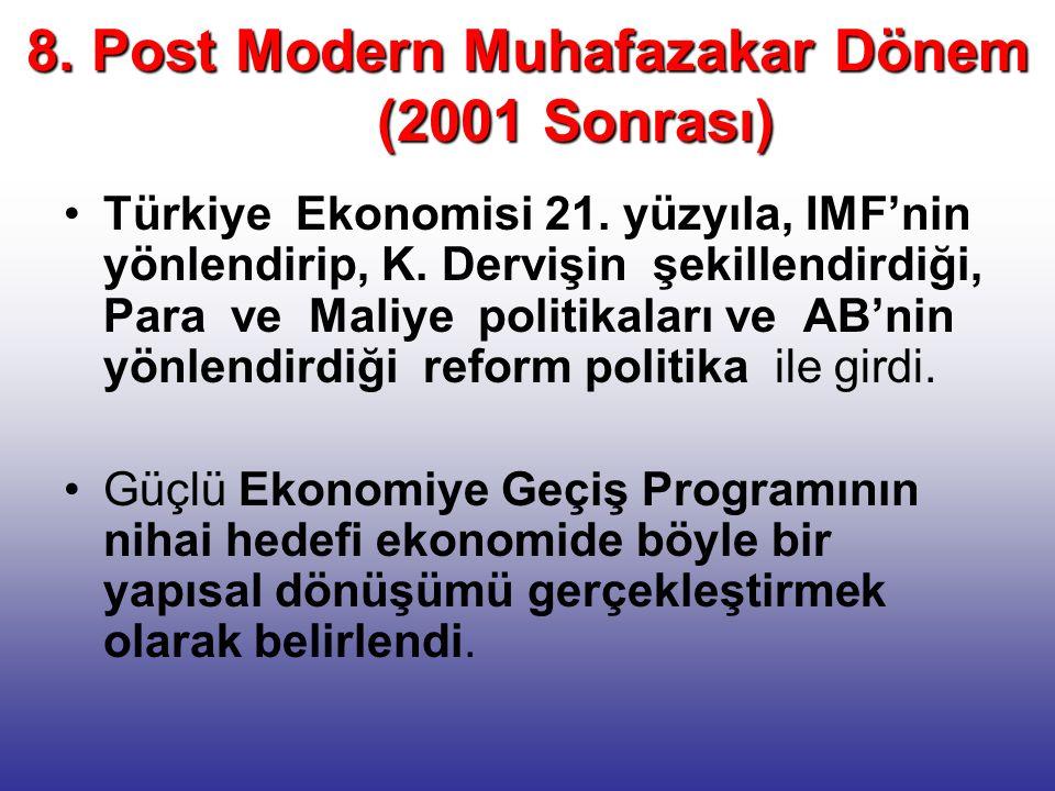 8. Post Modern Muhafazakar Dönem (2001 Sonrası) Türkiye Ekonomisi 21. yüzyıla, IMF'nin yönlendirip, K. Dervişin şekillendirdiği, Para ve Maliye politi