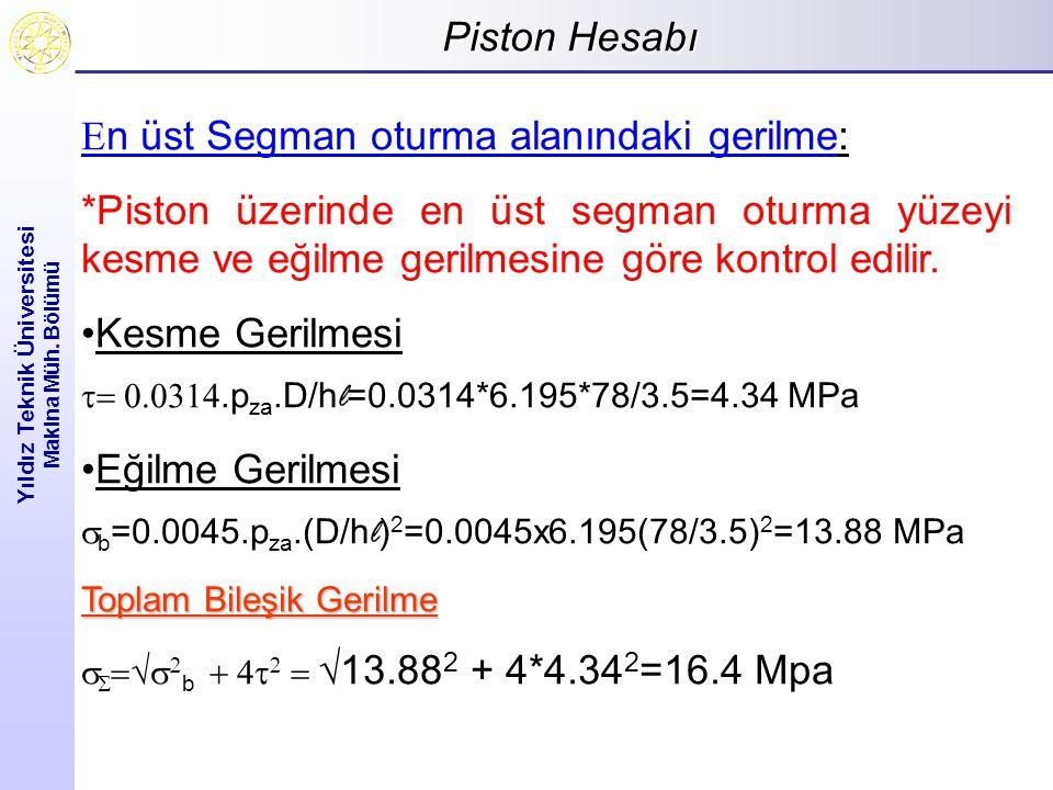 Piston Hesabı Yıldız Teknik Üniversitesi Makina Müh. Bölümü  n üst Segman oturma alanındaki gerilme: *Piston üzerinde en üst segman oturma yüzeyi kes