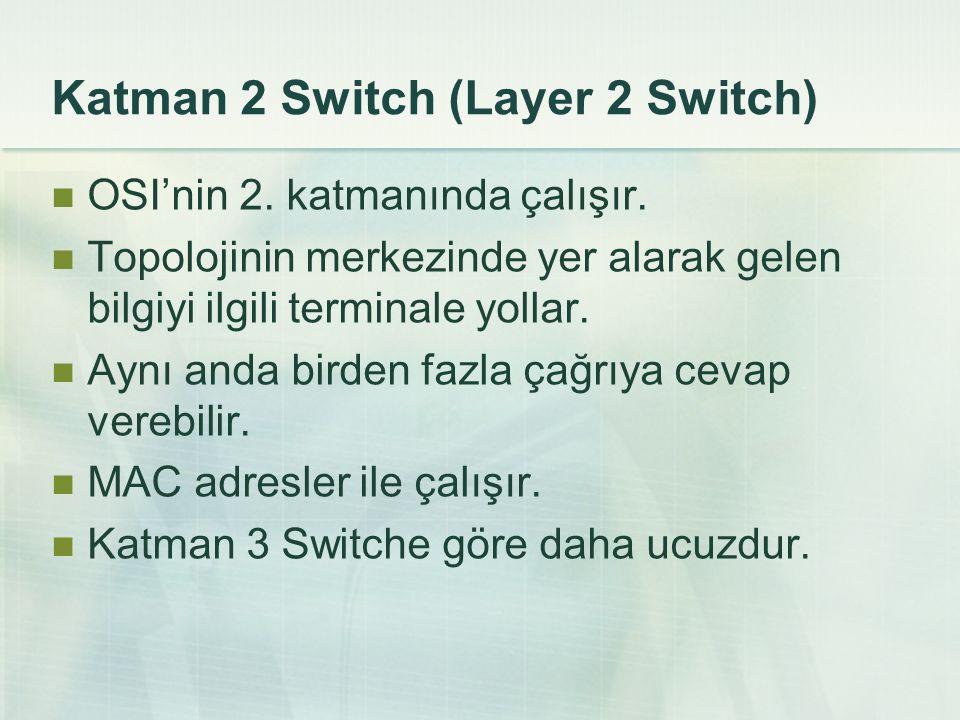 Katman 2 Switch (Layer 2 Switch) OSI'nin 2. katmanında çalışır. Topolojinin merkezinde yer alarak gelen bilgiyi ilgili terminale yollar. Aynı anda bir