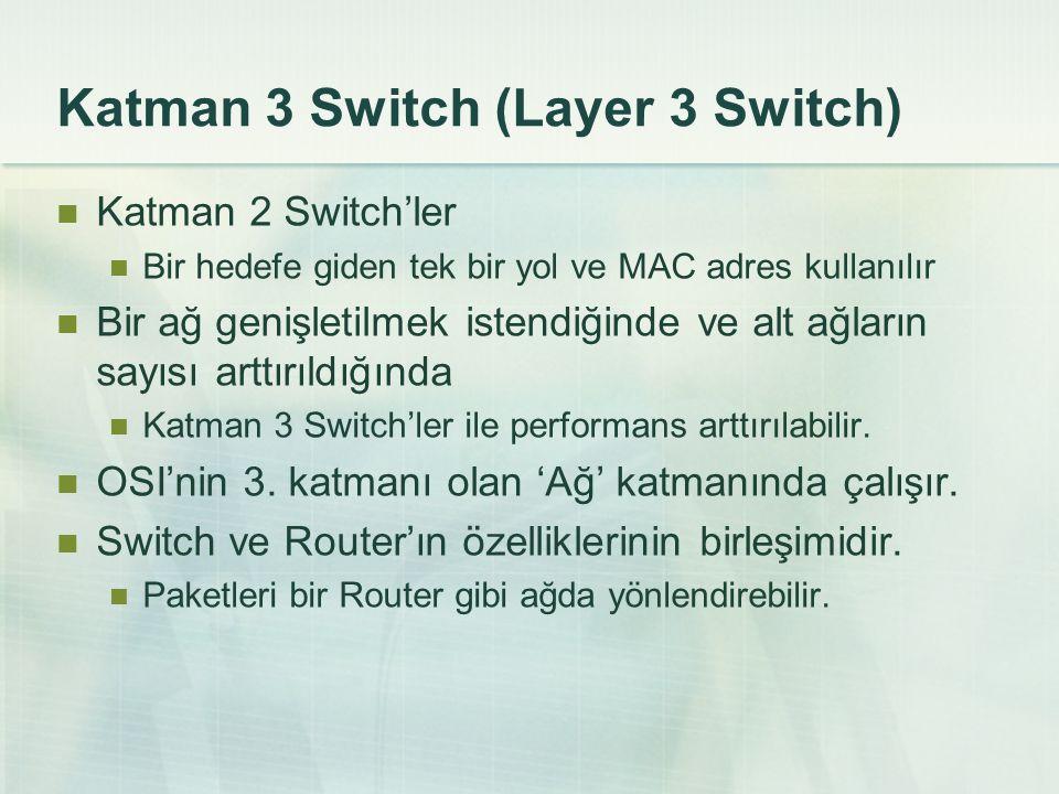 Katman 3 Switch (Layer 3 Switch) Katman 2 Switch'ler Bir hedefe giden tek bir yol ve MAC adres kullanılır Bir ağ genişletilmek istendiğinde ve alt ağl