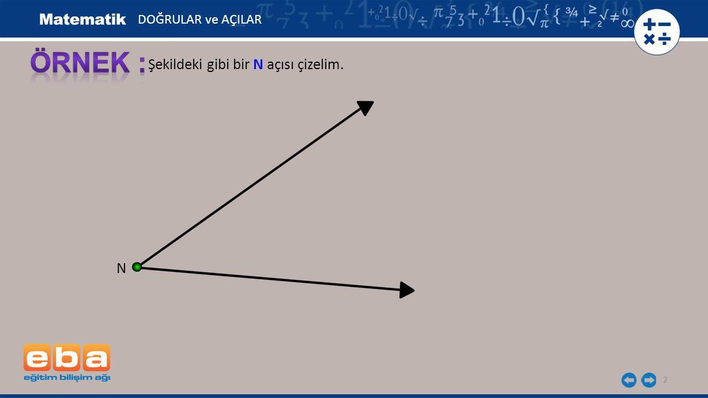 2 Şekildeki gibi bir N açısı çizelim. N DOĞRULAR ve AÇILAR