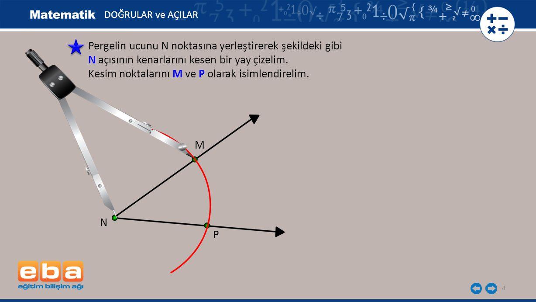 4 Pergelin ucunu N noktasına yerleştirerek şekildeki gibi N açısının kenarlarını kesen bir yay çizelim. Kesim noktalarını M ve P olarak isimlendirelim