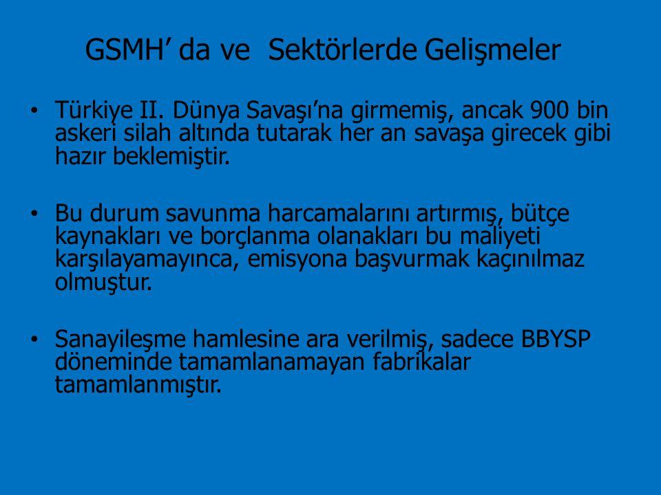 GSMH' da ve Sektörlerde Gelişmeler Türkiye II. Dünya Savaşı'na girmemiş, ancak 900 bin askeri silah altında tutarak her an savaşa girecek gibi hazır b