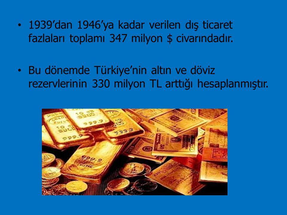 1939'dan 1946'ya kadar verilen dış ticaret fazlaları toplamı 347 milyon $ civarındadır. Bu dönemde Türkiye'nin altın ve döviz rezervlerinin 330 milyon