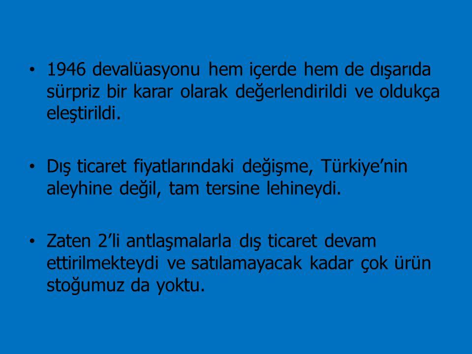 1946 devalüasyonu hem içerde hem de dışarıda sürpriz bir karar olarak değerlendirildi ve oldukça eleştirildi. Dış ticaret fiyatlarındaki değişme, Türk