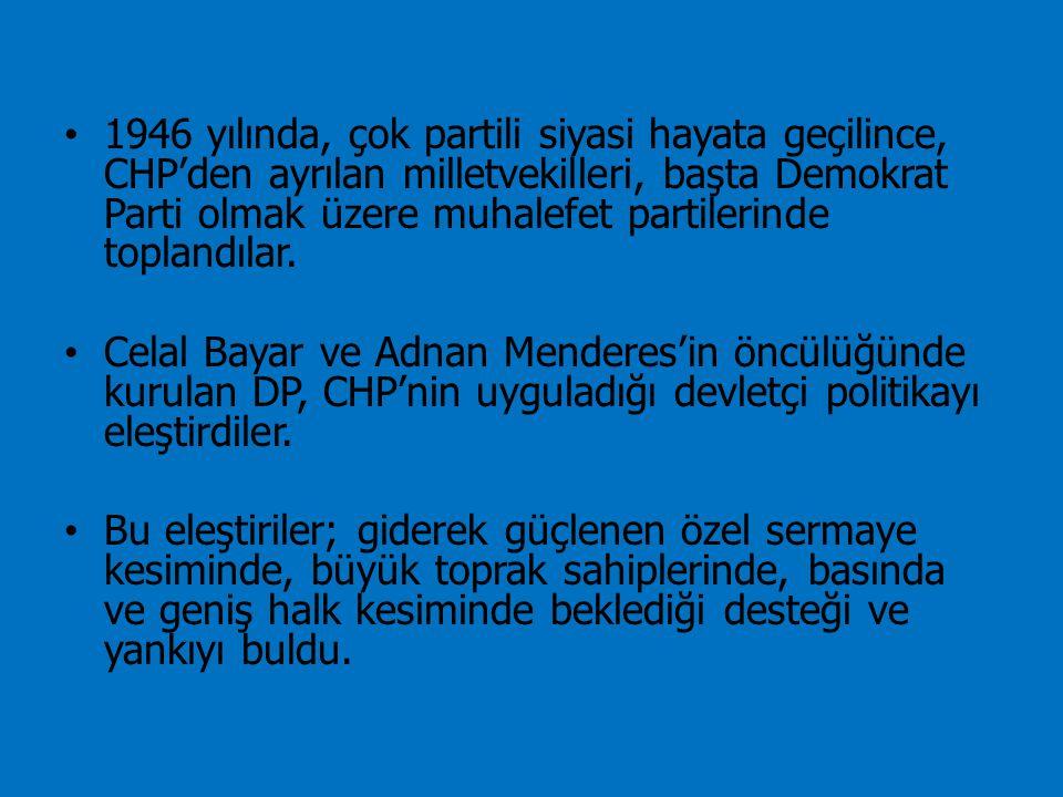 1946 yılında, çok partili siyasi hayata geçilince, CHP'den ayrılan milletvekilleri, başta Demokrat Parti olmak üzere muhalefet partilerinde toplandılar.