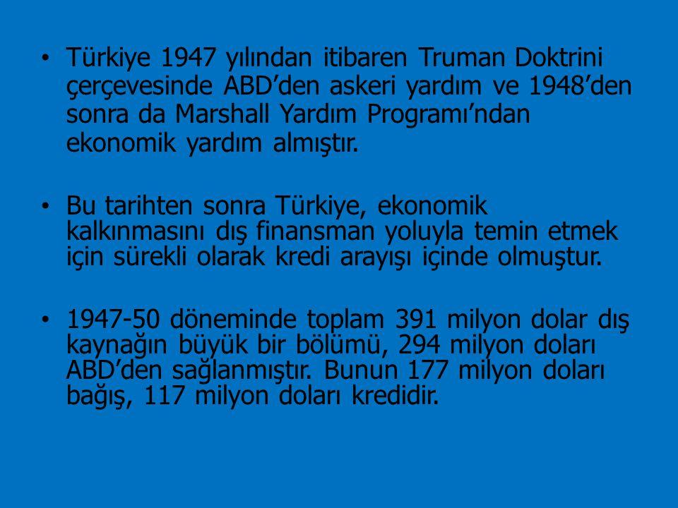 Türkiye 1947 yılından itibaren Truman Doktrini çerçevesinde ABD'den askeri yardım ve 1948'den sonra da Marshall Yardım Programı'ndan ekonomik yardım a