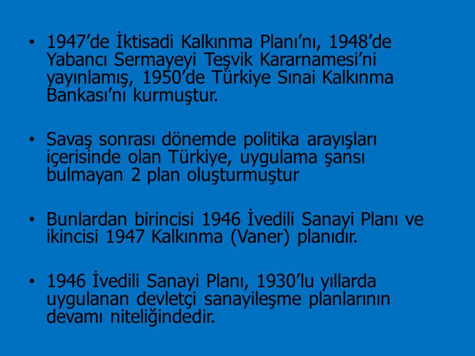 1947'de İktisadi Kalkınma Planı'nı, 1948'de Yabancı Sermayeyi Teşvik Kararnamesi'ni yayınlamış, 1950'de Türkiye Sınai Kalkınma Bankası'nı kurmuştur. S
