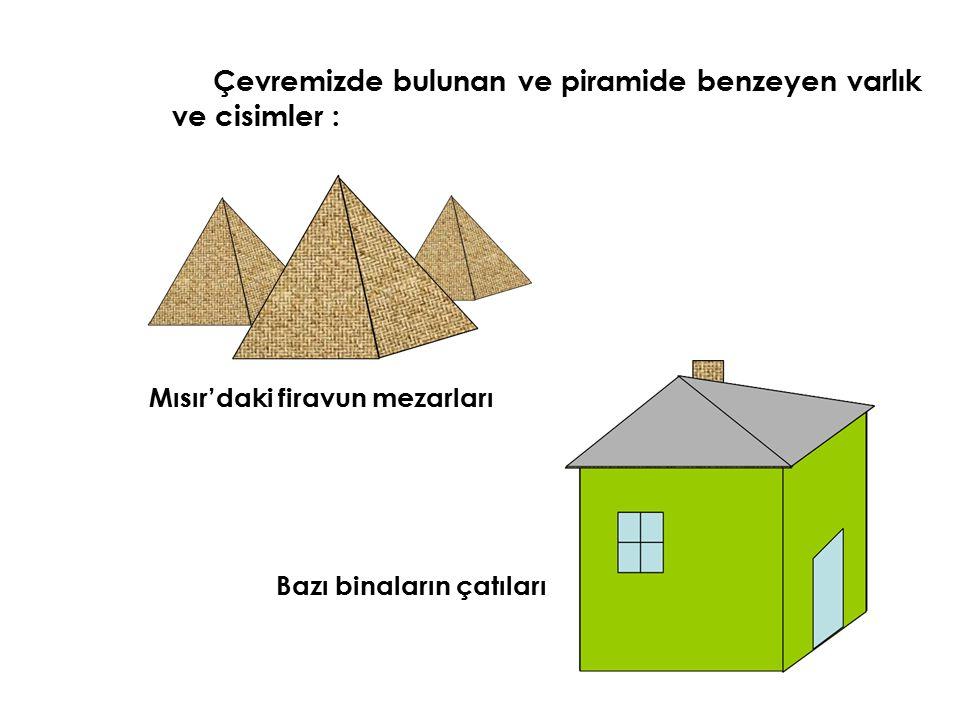 Çevremizde bulunan ve piramide benzeyen varlık ve cisimler : Mısır'daki firavun mezarları Bazı binaların çatıları