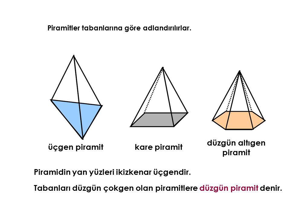 Piramitler tabanlarına göre adlandırılırlar. üçgen piramit kare piramit düzgün altıgen piramit Piramidin yan yüzleri ikizkenar üçgendir. Tabanları düz