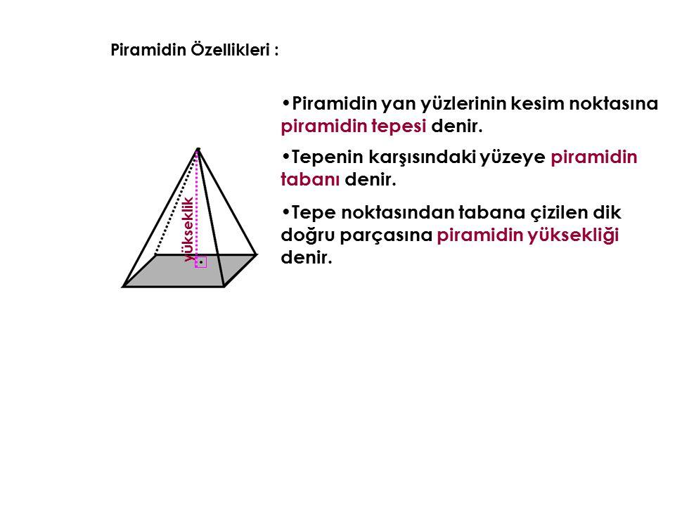 Piramidin Özellikleri : Piramidin yan yüzlerinin kesim noktasına piramidin tepesi denir. Tepenin karşısındaki yüzeye piramidin tabanı denir. y ü k s e