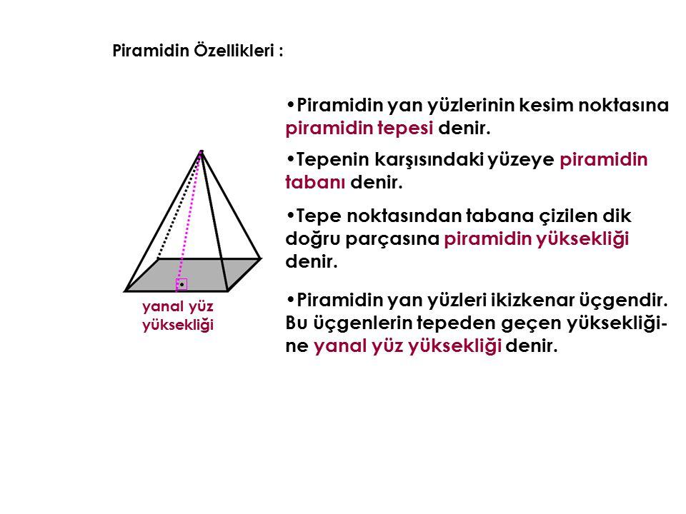 Piramidin Özellikleri : Piramidin yan yüzlerinin kesim noktasına piramidin tepesi denir. Tepenin karşısındaki yüzeye piramidin tabanı denir. yanal yüz