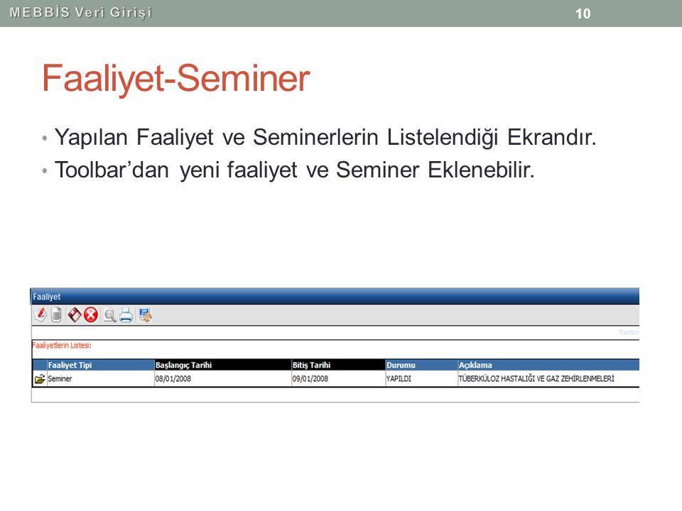 Faaliyet-Seminer Yapılan Faaliyet ve Seminerlerin Listelendiği Ekrandır. Toolbar'dan yeni faaliyet ve Seminer Eklenebilir. 10