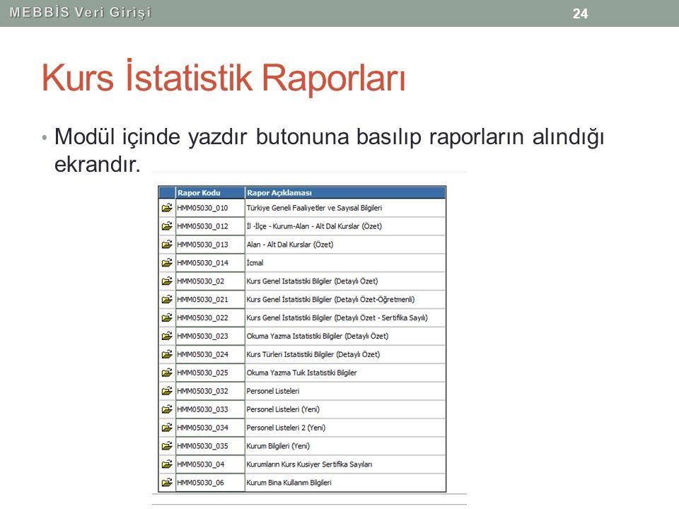 Kurs İstatistik Raporları Modül içinde yazdır butonuna basılıp raporların alındığı ekrandır. 24