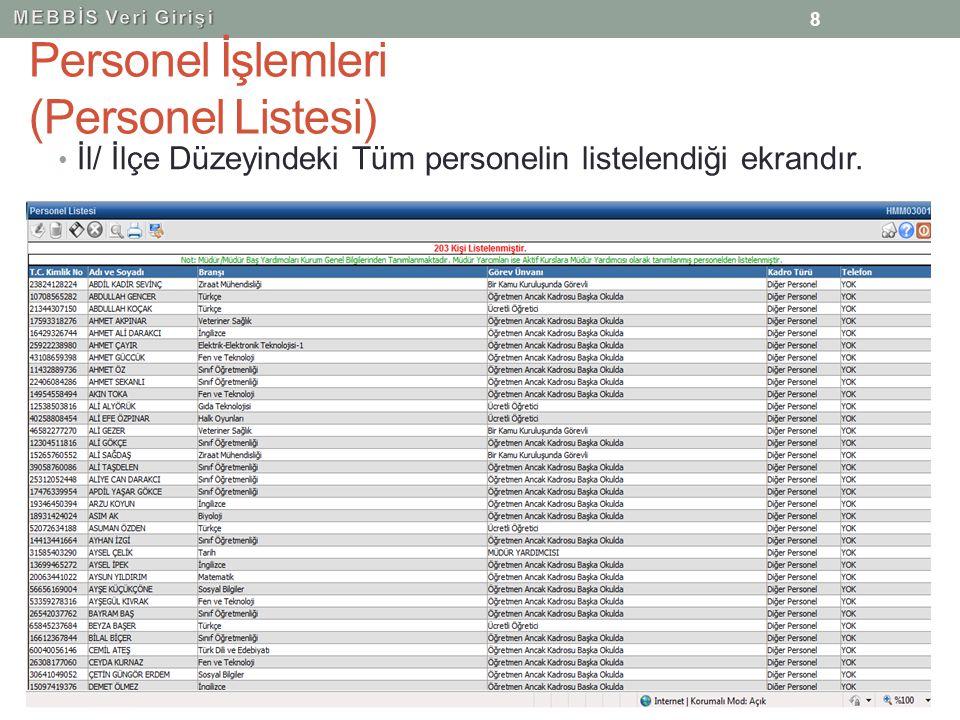 Personel İşlemleri (Personel Listesi) İl/ İlçe Düzeyindeki Tüm personelin listelendiği ekrandır. 8
