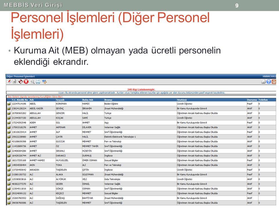 Personel İşlemleri (Diğer Personel İşlemleri) Kuruma Ait (MEB) olmayan yada ücretli personelin eklendiği ekrandır. 9