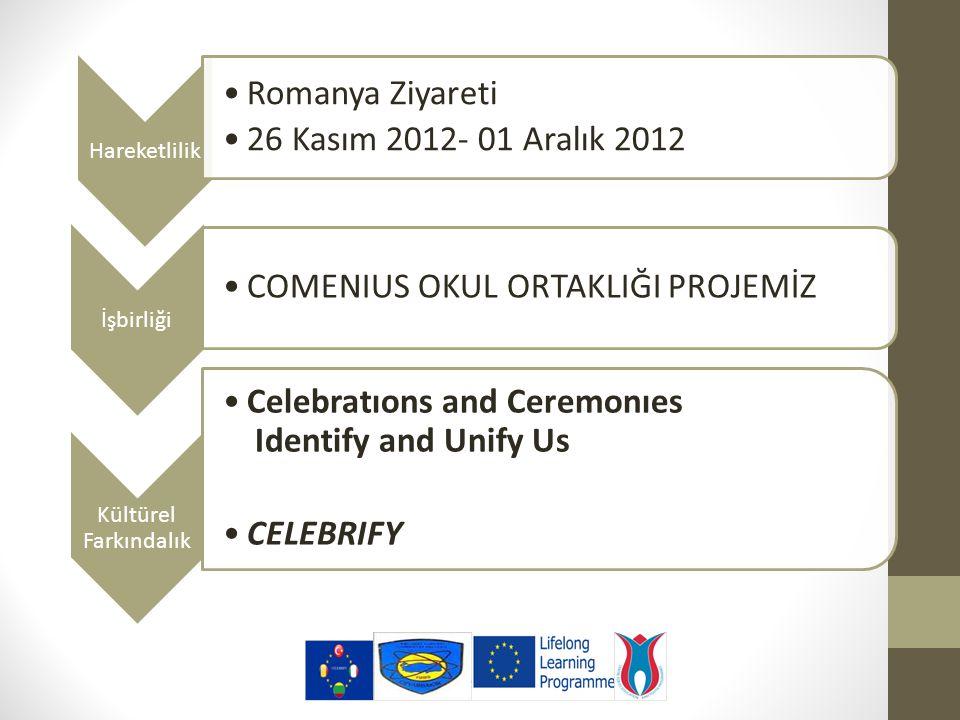 Hareketlilik Romanya Ziyareti 26 Kasım 2012- 01 Aralık 2012 İşbirliği COMENIUS OKUL ORTAKLIĞI PROJEMİZ Kültürel Farkındalık Celebratıons and Ceremonıes Identify and Unify Us CELEBRIFY