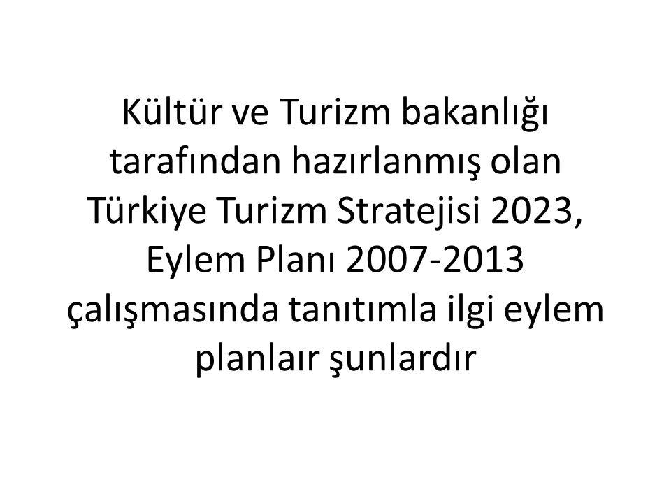Kültür ve Turizm bakanlığı tarafından hazırlanmış olan Türkiye Turizm Stratejisi 2023, Eylem Planı 2007-2013 çalışmasında tanıtımla ilgi eylem planlaır şunlardır