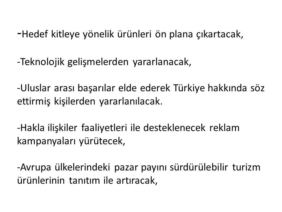 - Hedef kitleye yönelik ürünleri ön plana çıkartacak, -Teknolojik gelişmelerden yararlanacak, -Uluslar arası başarılar elde ederek Türkiye hakkında söz ettirmiş kişilerden yararlanılacak.