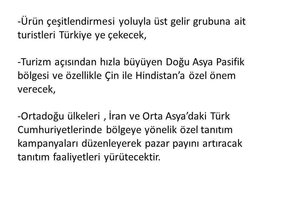 -Ürün çeşitlendirmesi yoluyla üst gelir grubuna ait turistleri Türkiye ye çekecek, -Turizm açısından hızla büyüyen Doğu Asya Pasifik bölgesi ve özelli