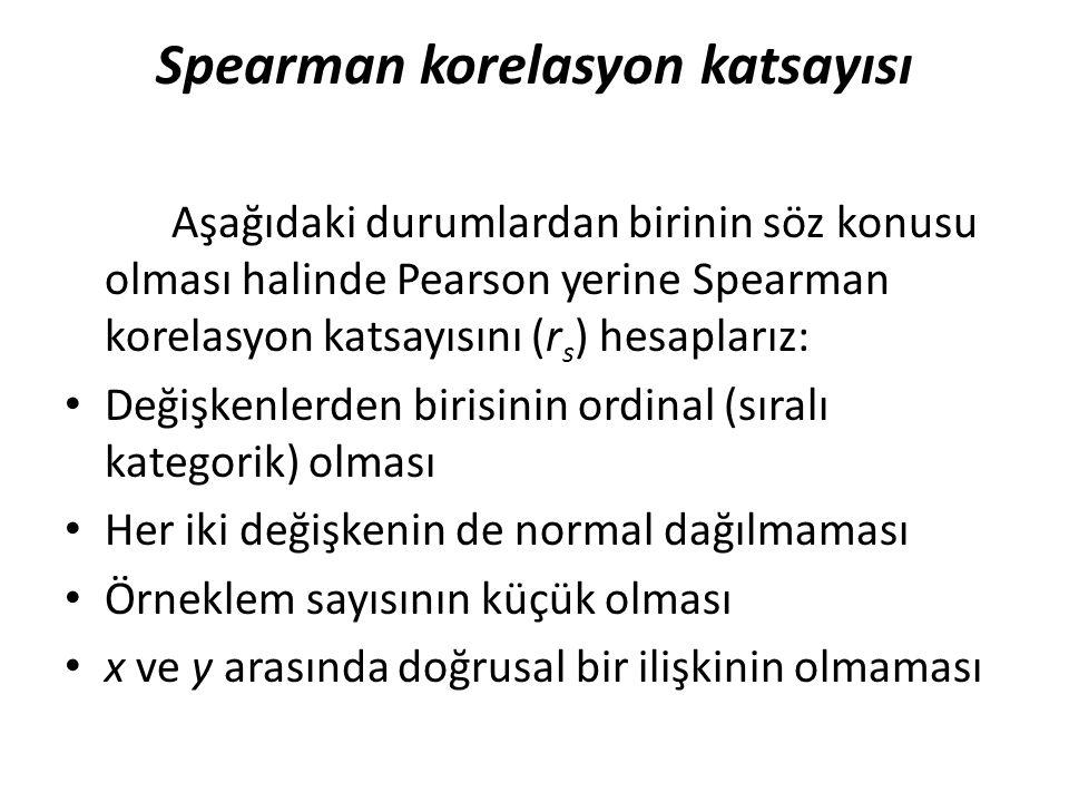 Spearman korelasyon katsayısı Aşağıdaki durumlardan birinin söz konusu olması halinde Pearson yerine Spearman korelasyon katsayısını (r s ) hesaplarız