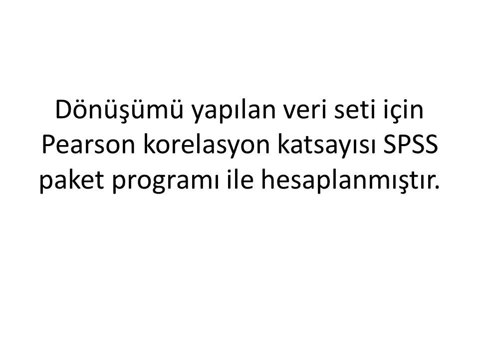 Dönüşümü yapılan veri seti için Pearson korelasyon katsayısı SPSS paket programı ile hesaplanmıştır.