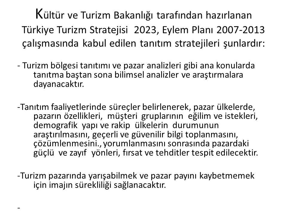 K ültür ve Turizm Bakanlığı tarafından hazırlanan Türkiye Turizm Stratejisi 2023, Eylem Planı 2007-2013 çalışmasında kabul edilen tanıtım stratejileri şunlardır: - Turizm bölgesi tanıtımı ve pazar analizleri gibi ana konularda tanıtma baştan sona bilimsel analizler ve araştırmalara dayanacaktır.