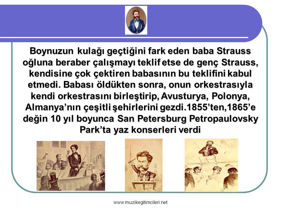 Boynuzun kulağı geçtiğini fark eden baba Strauss oğluna beraber çalışmayı teklif etse de genç Strauss, kendisine çok çektiren babasının bu teklifini k