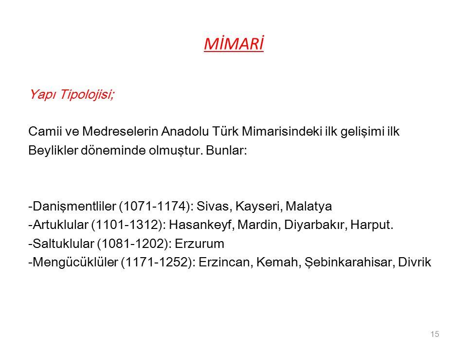 MİMARİ Yapı Tipolojisi; Camii ve Medreselerin Anadolu Türk Mimarisindeki ilk gelişimi ilk Beylikler döneminde olmuştur.